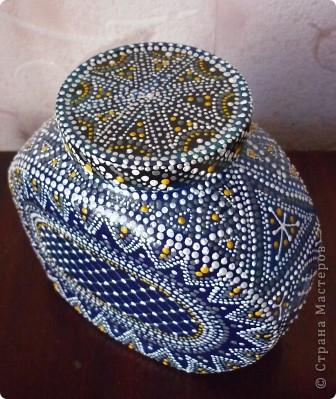Материалы: Баночка стеклянная. Контуры по стеклу и керамике акриловые. Краска по керамике акриловая , синяя. Фантазия.  фото 10
