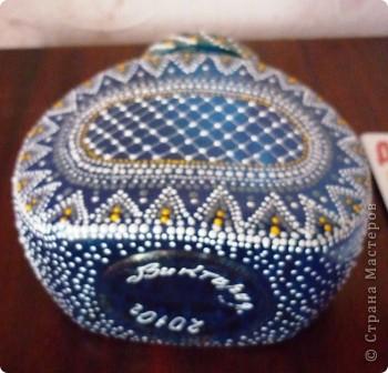 Материалы: Баночка стеклянная. Контуры по стеклу и керамике акриловые. Краска по керамике акриловая , синяя. Фантазия.  фото 9
