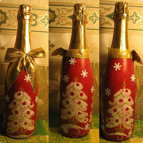 Парочка красных бутылок. Внутри у обеих красное игристое вино :) Очень хотелось сделать бутылку-домик. Крышу делала из салфеток - складывала черепицу, обильно мазала её ПВА (так, чтобы она промокла) и приклеивала. Такое папье-маше экспресс. Поверх основного тона, на недосохшую краску нанесла ещё инферентный золотой акрил. Получился довольно необычный цвет черепицы. Надеюсь, когда бутылку откроют, горлышко будет похоже на трубу :) фото 2