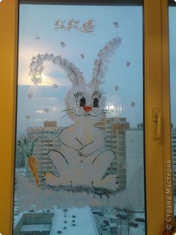 """вот такая """"лапочка"""" живёт у на на окне со вчерашнего вечера))) нарисован зубной пастой (методом """"чпокания"""" губкой)+ глаза, нос, морковка (гуашь). это конечный результат фото 2"""
