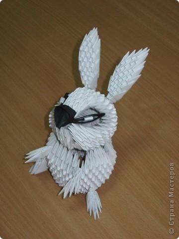 Здравствуйте! Поздравляю всех с наступающим Новым годом!  Увидела в Стране мастеров очаровательного белого кролика, которого сделала Бригантина, и захотелось сделать такого же. Вот что у меня получилось. Тапками не закидывайте, я в модульном оригами новичок. Этот кролик - моя первая работа.  Хочу отдельно поблагодарить Бригантину за предоставленную схему сборки кролика. Кстати, ее можно посмотреть вот по этой ссылке: http://stranamasterov.ru/node/115365?c=favorite фото 2