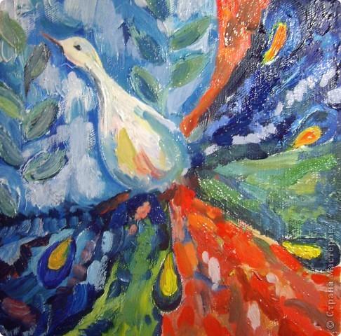 Птица из моей головы. Работа сделана маслом.. Меня никто не учил им рисовать. Моя самая первая работа,сделанная в этой технике. фото 1