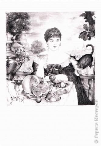 """Приблизительная копия """"Купчихи за чаем"""" Б. Кустодиева."""