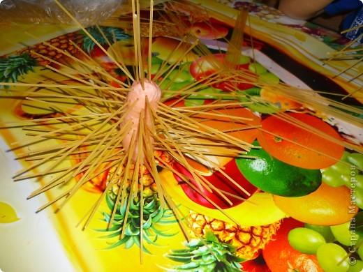 Для одной порции надо взять 1 сосиску и таким образом проколоть её спагетти. фото 2