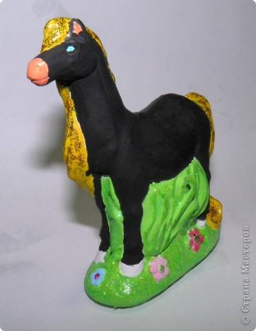 Моя племяшка обожает лошадей... и мы просто не смогли пройти мимо такого чуда)))  Это такой набор продаётся: сначала из гипса делаешь заготовку-фигурку, а затем её раскрашиваешь... Вот, что у неё в результате получилось. фото 4