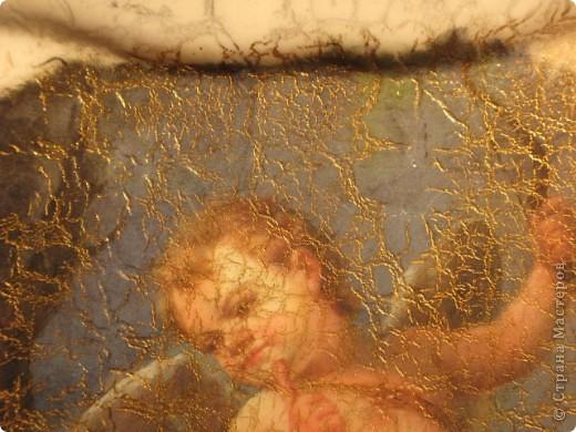 Ирис. обратный декупаж: декупажная карта, двухшаговый кракелюр, акриловые краски, контуры по стеклу. фото 4