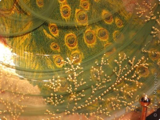 Ирис. обратный декупаж: декупажная карта, двухшаговый кракелюр, акриловые краски, контуры по стеклу. фото 6
