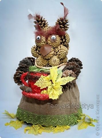 """Вот. Сделали с подружкой в садик поделку из шишек. К празднику осени. В """"состав"""" изделия входят: шишки сосновые, мешковина, перышки от боа, готовая кружечка и листики, бусики и глазки. И, конечно же, горячий клей. :)   фото 2"""