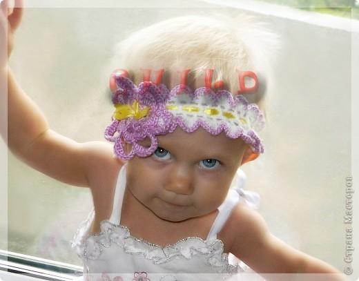 Повязочка на голову с цветком и лентой фото 2