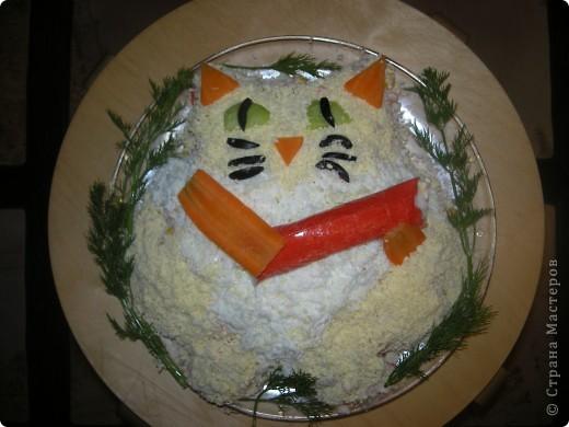 Салатик Кот из крабовых палочек с креветками фото 1