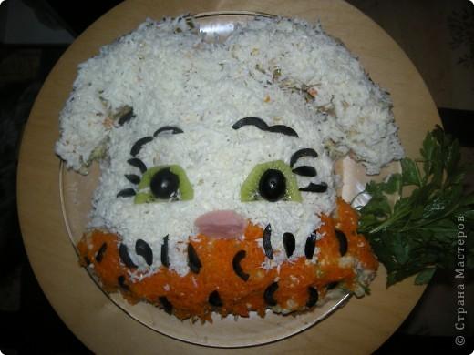 Салатик Кот из крабовых палочек с креветками фото 4