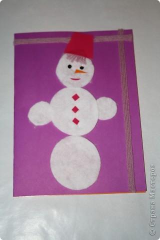 Вот такие открыточки мы сделали с двухлетней дочкой в подарок на Новый год бабушкам, дедушкам фото 2