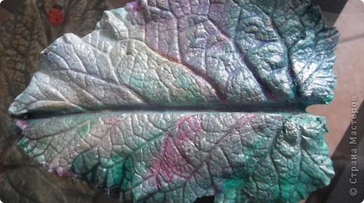 Осень дарит нам щедрые краски, которые могут нас радовать круглый год, если мы немного постараемся. Соберем фактурные листья, отольем в гипсе и раскрасим, как душе угодно. Ну и конечно украсим свой дом. фото 10