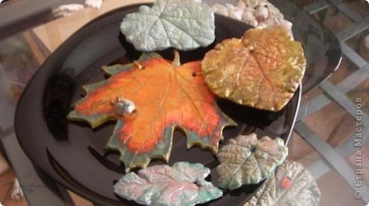 Осень дарит нам щедрые краски, которые могут нас радовать круглый год, если мы немного постараемся. Соберем фактурные листья, отольем в гипсе и раскрасим, как душе угодно. Ну и конечно украсим свой дом. фото 18