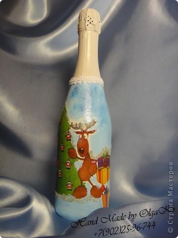 Очередная партия бутылочек с декупажом. Решила в комплект к зелененькой бутылочки сделать зелененькую рамочку для фото.  фото 4
