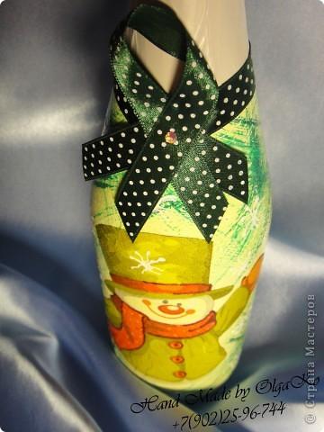 Очередная партия бутылочек с декупажом. Решила в комплект к зелененькой бутылочки сделать зелененькую рамочку для фото.  фото 2