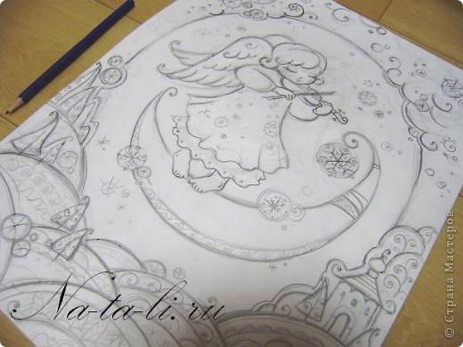 Новый ангелочек, написался только вчера...  Уже во всю занимаюсь самокритикой, но писать не буду  :-)  вдруг не заметите... Маленький батик, паспарту из бумаги для пастели, работа 30х40. фото 5