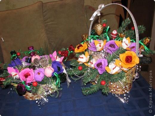 Вот две недели делали подарки для родных к Новому Году. Всего получилось 17 корзиночек. фото 12
