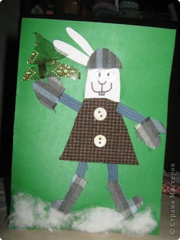 Вот такой страшно красивый заяц получился у моего младшего сына))) фото 1