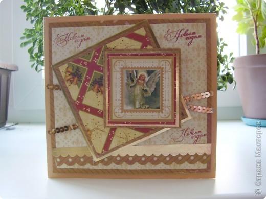 Еще одна партия новогодних открыток. Сразу скажу, еще не последняя :). И так, первая  - нежно-любовная для одного очень-очень хорошего человека, у которого день рождения на Рождество.  фото 3