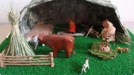 Пещера древнего человека, семейная работа в технике папье-маше. фото 8