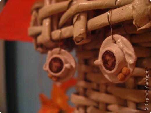 сережки -кофейные чашечки из теста  фото 1