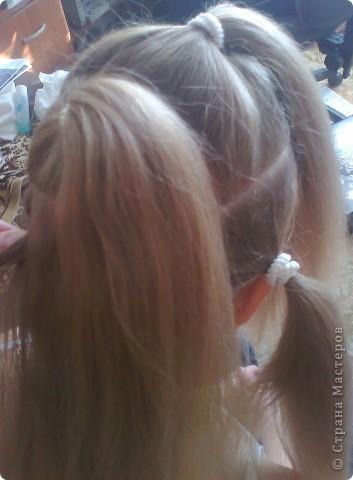Вот решила попробовать сделать МК. И так... Делим волосы на голове на 5 частей и завязываем резнками, чтобы не мешали. фото 1