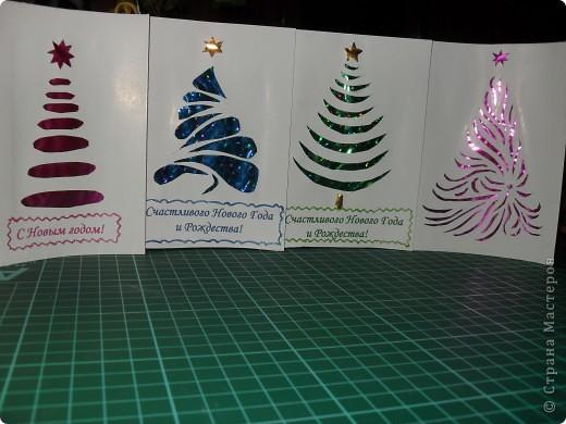 4 открытки с вырезанными ёлочками. фото 1