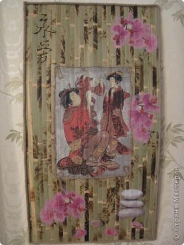 """Панно """"Япония"""": рисовая бумага, салфетки, шпагат, канат."""