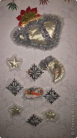 Мои новогодние украшения часов и бра в коридоре. фото 13