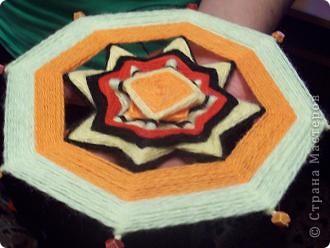 ура!!!наконец то сбылась моя мечта - я сделала мандалу(Ojos de Dios) из палочек для шашлыков и остатков ниток фото 2
