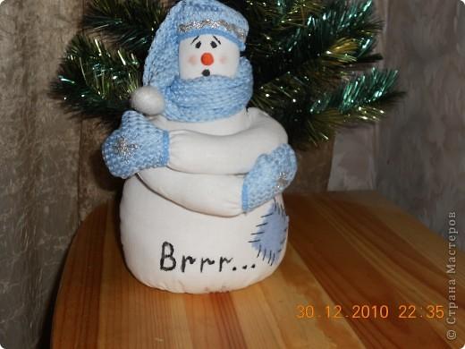 Захотелось по елочку сшить  снеговика. фото 3