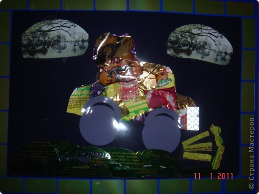 """Вот какую даму мы с дочкой сотворили, используя технику """"Фантиковый дизайн"""". Да, не зря мы слопали тонну шоколадных конфет!))) фото 2"""