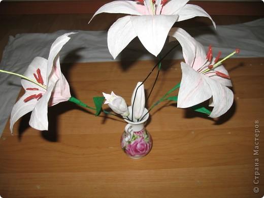 Для создания лилии (три раскрытых цветка и бутон) необходимо нарезать 18 проволочек 0,2-0,3мм по 18 см. каждая фото 23
