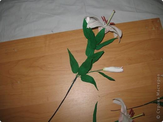 Для создания лилии (три раскрытых цветка и бутон) необходимо нарезать 18 проволочек 0,2-0,3мм по 18 см. каждая фото 28