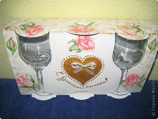 Украсила коробку/ в подарок / с бокалами. фото 1