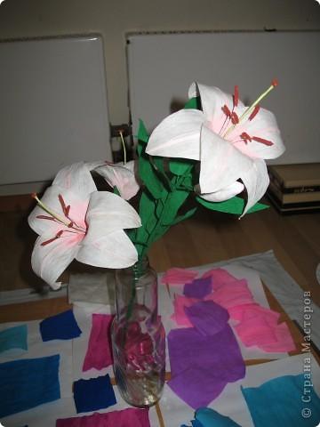 Для создания лилии (три раскрытых цветка и бутон) необходимо нарезать 18 проволочек 0,2-0,3мм по 18 см. каждая фото 30