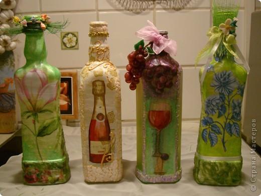 Продолжаю декорировать бутылочки.Не все получилось так, как замышляла вначале. Но результат решила всеже показать. фото 9