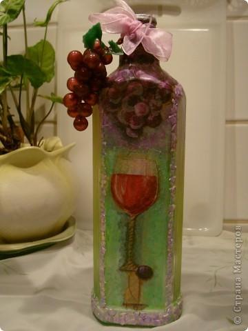 Продолжаю декорировать бутылочки.Не все получилось так, как замышляла вначале. Но результат решила всеже показать. фото 7