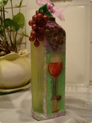 Продолжаю декорировать бутылочки.Не все получилось так, как замышляла вначале. Но результат решила всеже показать. фото 8