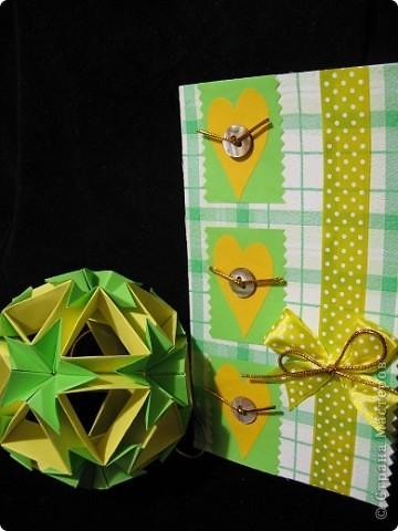 Вот такие нежно-зеленые и желто-солнечные получились у меня открытка и кусудама фото 9