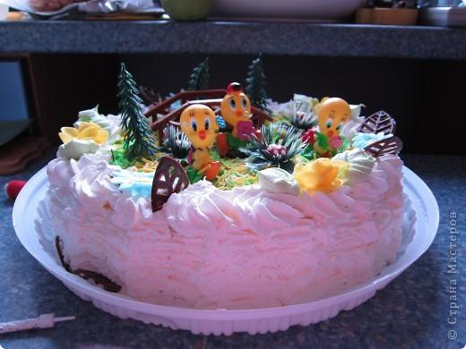 Вот такой тортик (покупной) подарила внучке на 4 года.  фото 1