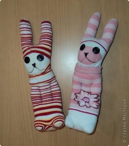 Мои первые зайчата из носков. фото 1