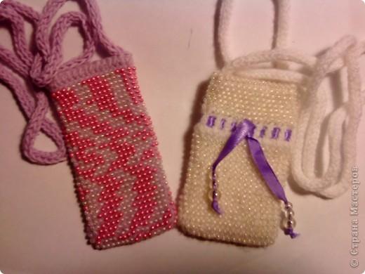 Мои первые пробы вязания бисером - чехольчики для мобильного телефона. фото 1