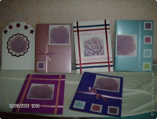 """серия открыток """"розы"""", была куплена бумага для записей с изображением роз и родилась эта серия открыток фото 1"""
