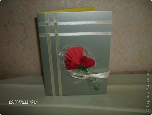 открытка с розами из бумаги