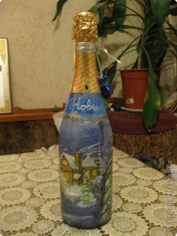 В этом году к новому году по маминой просьбе делала серию праздничных бутылочек - коллегам на работу, преподавателям и т.д. Пару бутылок остались не сфотографированными, к сожалению. Выкладываю, раньше не собралась ((( фото 7