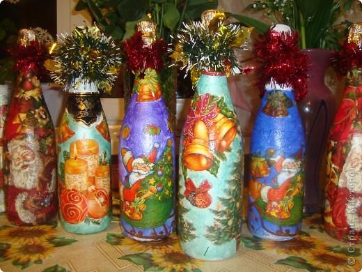 Мои новогодние бутылочки. фото 1
