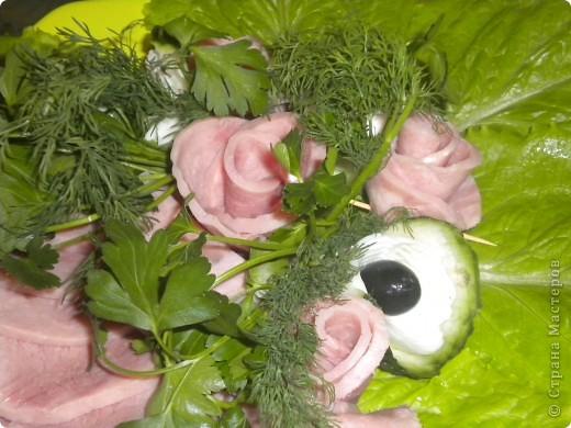 Розы из ветчины фото 1