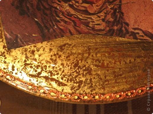 Обратный декупаж: салфетка, поталь (травление), акриловые краски, лак. фото 2